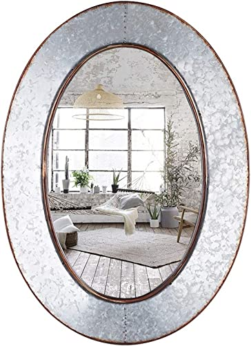 Geloo Bathroom Mirrors Industrial Galvanized – 28 Inch Oval Metal Wall Mirrors, Gray Farmhouse Mirrors Wall Mounted,Vanity Mirror for Wall Decor Design for Bedroom, Street, Antique, Entryway