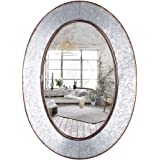 Geloo Bathroom Mirrors Industrial Galvanized-28 Inch Oval Wall Mirror,Gray Farmhouse Decor Mirrors Wall Mounted,Vanity Mirror
