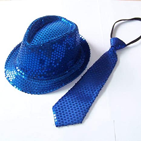 48ad39ca03c Amazon.com  Blue LED Fashing Light Up Sequin Fedora Hat Tie Costume Combo   Toys   Games