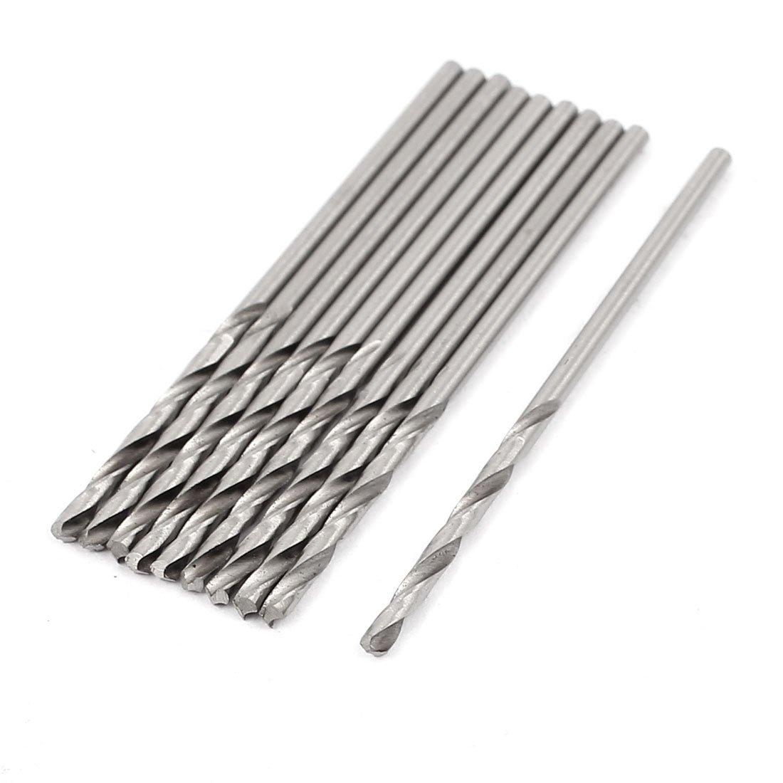 uxcell 10 Pcs 1.3mm Cutting Dia HSS Round Shank Twist Drilling Bit Silver Tone