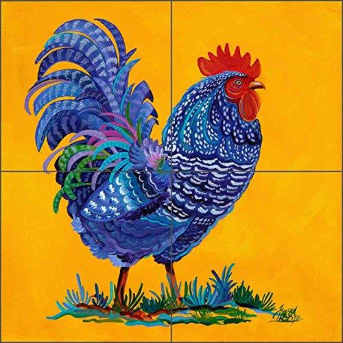Rooster Art Ceramic Tile Mural Backsplash - Spring Strutt by Susan Libby (12