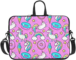 Cartoon Unicorns Donuts Rainbow Laptop Sleeve Case Bag for 15.6-Inch Notebook Computer