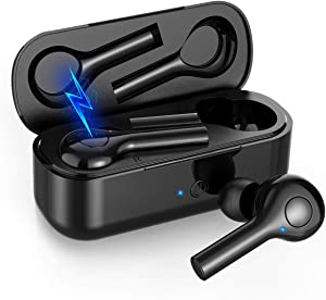 Hexdeer Wireless Earbuds – Bluetooth Headphones with Charging Pad – Bluetooth V5 In-Ear Running Headphones – Sweatproof Ear Pods with Case – Wide Compatibility – Sport Earbuds with Built-In Mic