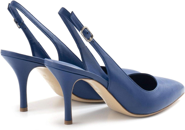White D Zapato Mujer Azul de Piel con tacón Medio D5KID