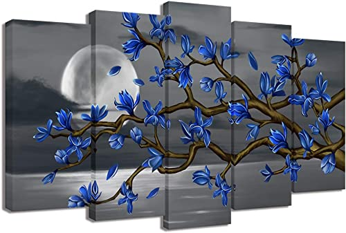 Visual Art Decor Blue Flowers Wall Art Abstract Magnolia Blossom