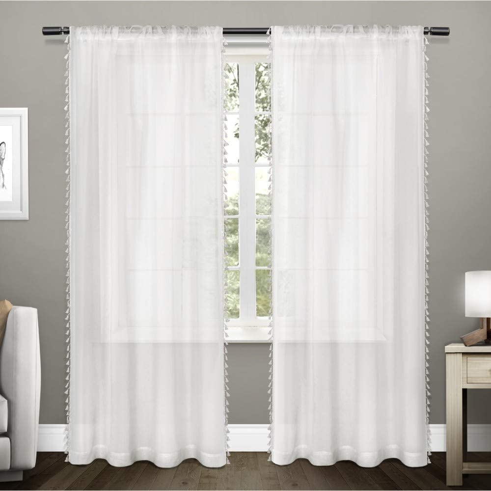 Exclusive Home Curtains Tassels Embellished Sheer Rod Pocket Curtain Panel Pair, 54x84, Winter White, 2 Count