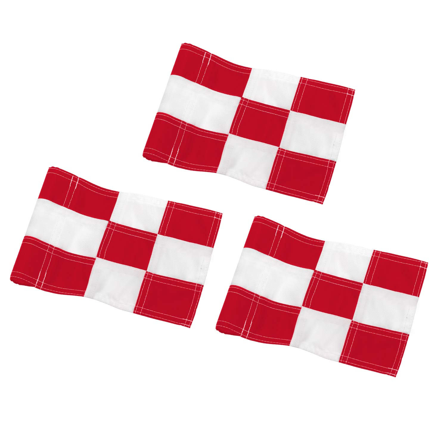 KINGTOP Checkered Golf Flag with Plastic Insert, Putting Green Flags for Yard, Indoor/Outdoor, Garden Pin Flags, 420D Premium Nylon Flag, 8'' L x 6'' H, White&Red, 3-Pack by KINGTOP