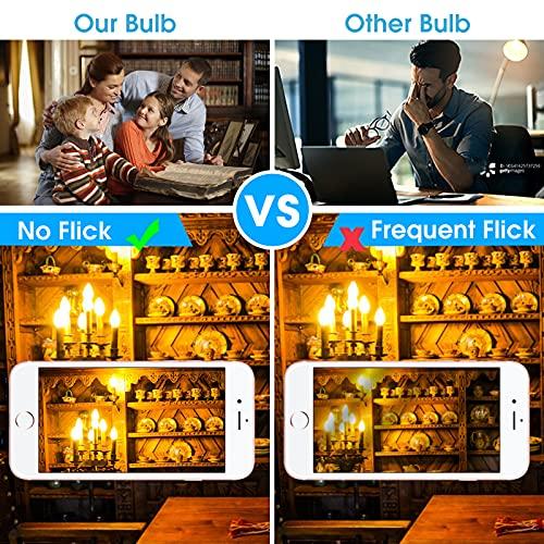 LED Chandelier Bulbs 60 watt, Dimmable B10 LED Candelabra Bulb, Soft White 2700K, E12 Candle Light Bulbs, UL Listed, 8 Pack