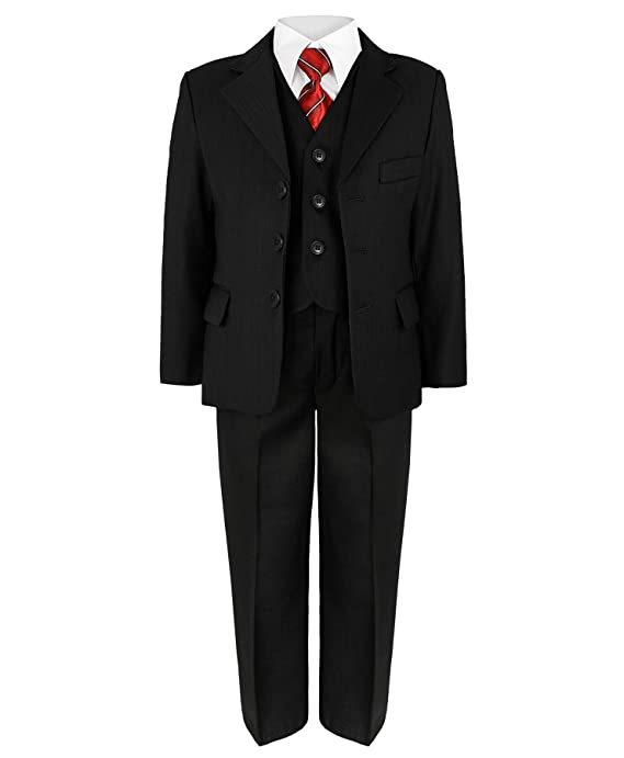 Boys 5 Piece Suit Wedding Party Jacket Trousers Shirt Waistcoat Tie