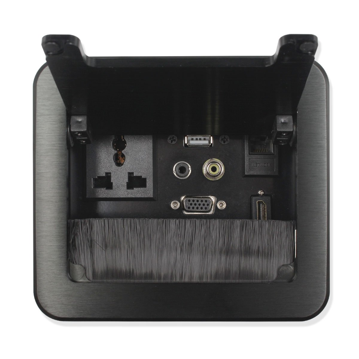 Non Soldering Multi-Function Table Socket Tabletop Brush Information Cable Box with Cover for Office or Meeting Room Table