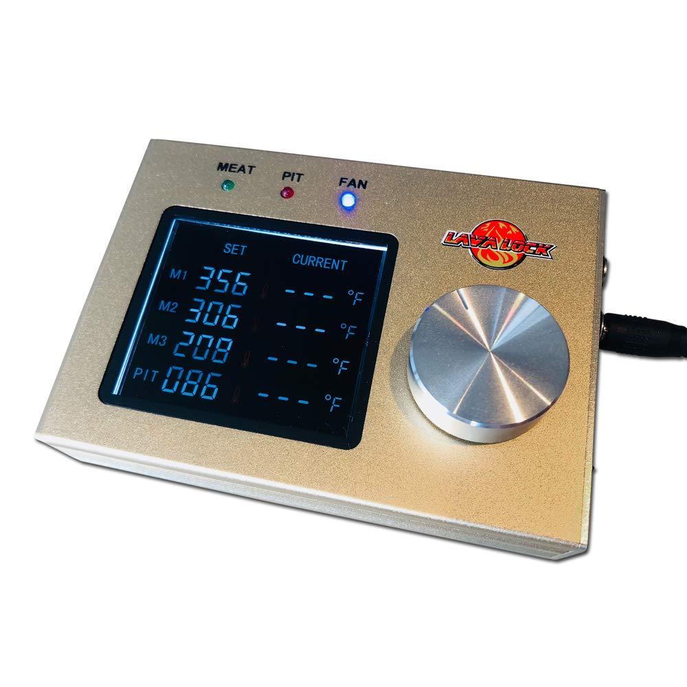 LavaLockⓇ 4-Probe Automatic BBQ Controller w/ 50 cfm Variable Speed Fan for sm, med, Large pits, BGE, Kamado Joe, WSM, UDS, Weber Smokey Mountain, Oklahoma Joe's, Offset Vertical Stick Burner Smokers