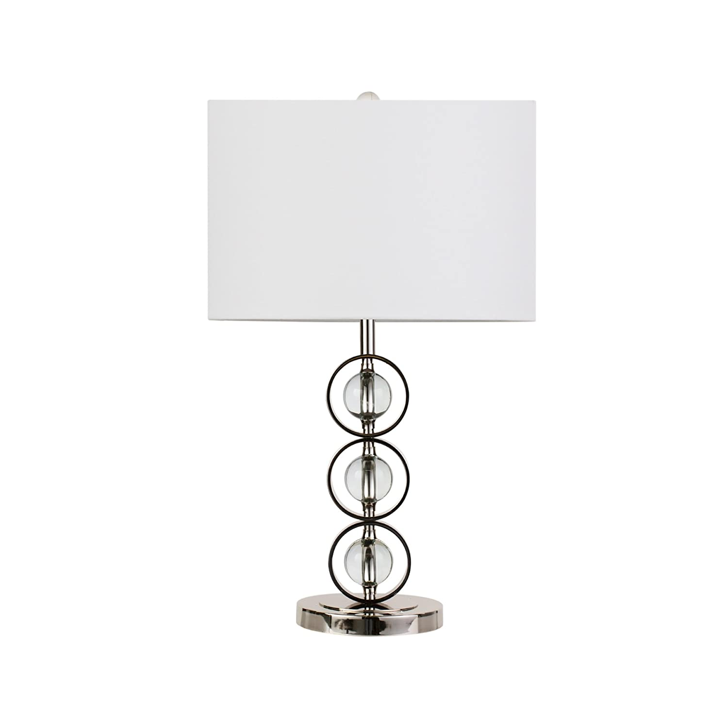 Maykke Beckett Table Lamp White Fabric Shade With Crystal Orb Base