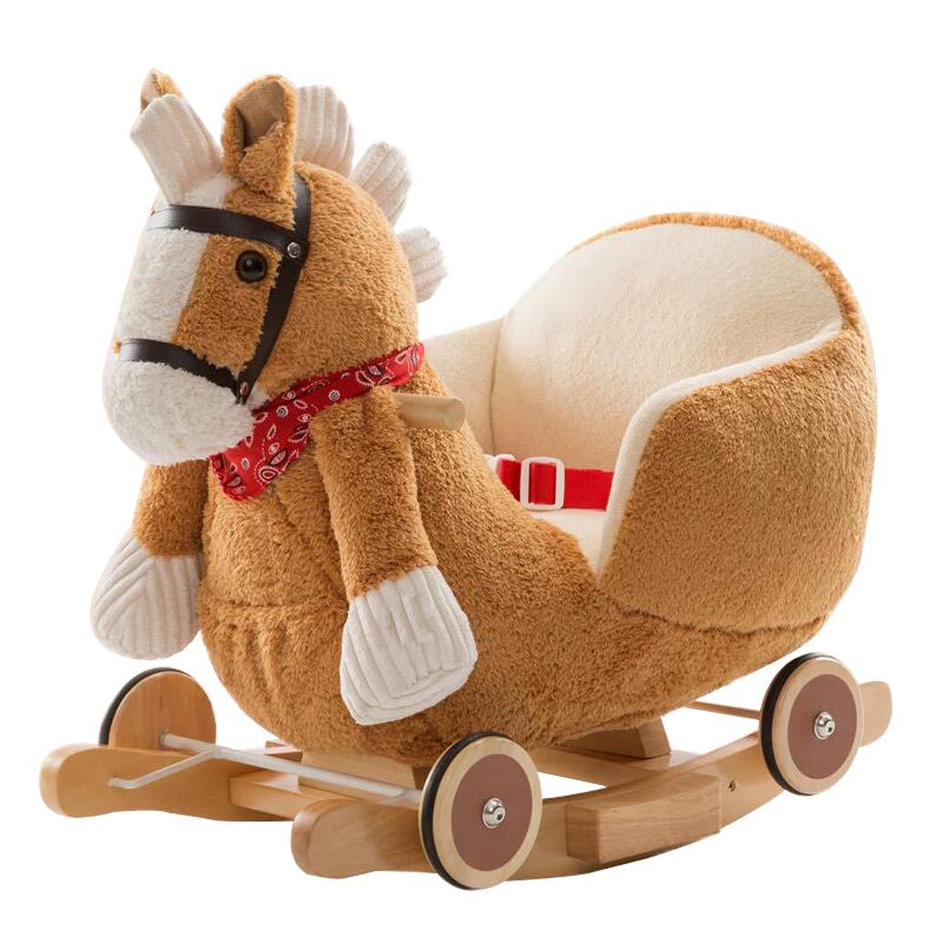 Schaukelstuhl Schaukelpferd Massivholz Schaukelpferd Musik Kinder Holz Pferd Baby Spielzeug Kinder Geburtstagsgeschenk 61  35  50 cm FANJIANI