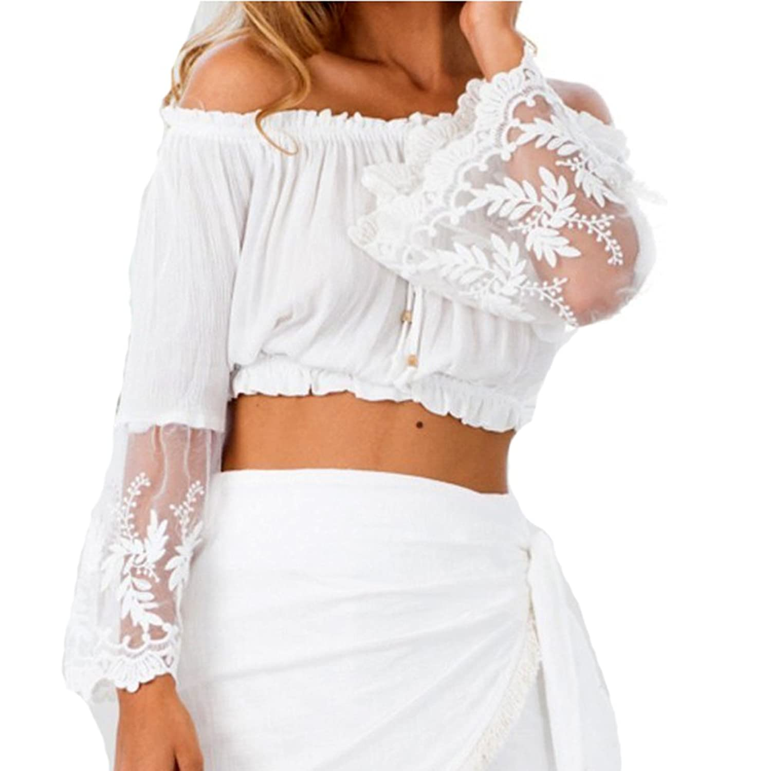 NXY Women's Off Shoulder Stripe Casual Blouse Shirt Top Cher Lace Crop White