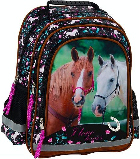 Depesche 10776 weißes Pferd Miss Melody Schulrucksack Rucksack Glitzer lila