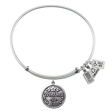 mother in law charm bangle silver finish