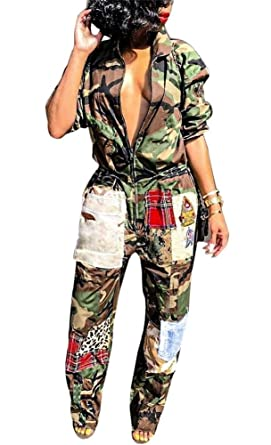 ba2b6acc2e01 Amazon.com  LKOUS Womens Casual Turndown Collar Camouflage Printing Short  Sleeve One-Piece Jumpsuits Party Rompers  Clothing