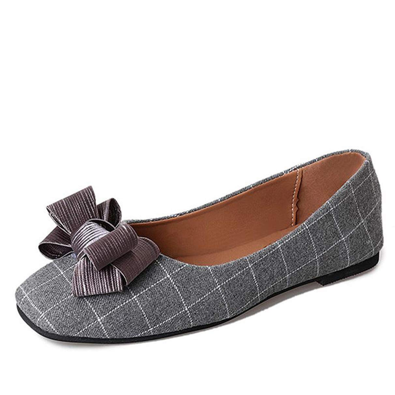 Owen Moll Women Flats, Casual Square Toe Slip-on Plaid Cotton Bowtie Loafers Shoes