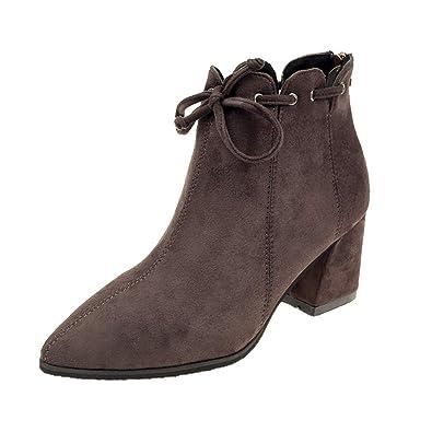 2d454fd4f72f0 CIELLTE Chaussures Bottines Femme Bottes de Neige Hiver Boots Bout Pointu  Lacets Chaussures Habillée Chaussures de Ville  Amazon.fr  Chaussures et  Sacs
