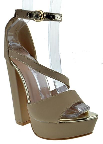 183a60db6b28 Forever Link Well 79 Womens Elegant Strappy Peep Toe Platform Sandals Taupe  Nub 6.5