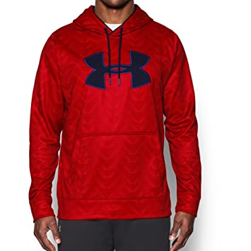 Under Armour Mens UA Storm Armour Fleece Big Logo Printed Hoodie Large BOLT  ORANGE