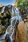 Utah Nature Photography 20x30 Inch Waterfall Poster of Lower Bell's Canyon Waterfall with a Large Rock on the Side | Wall Decor| Art Direct from the Artist