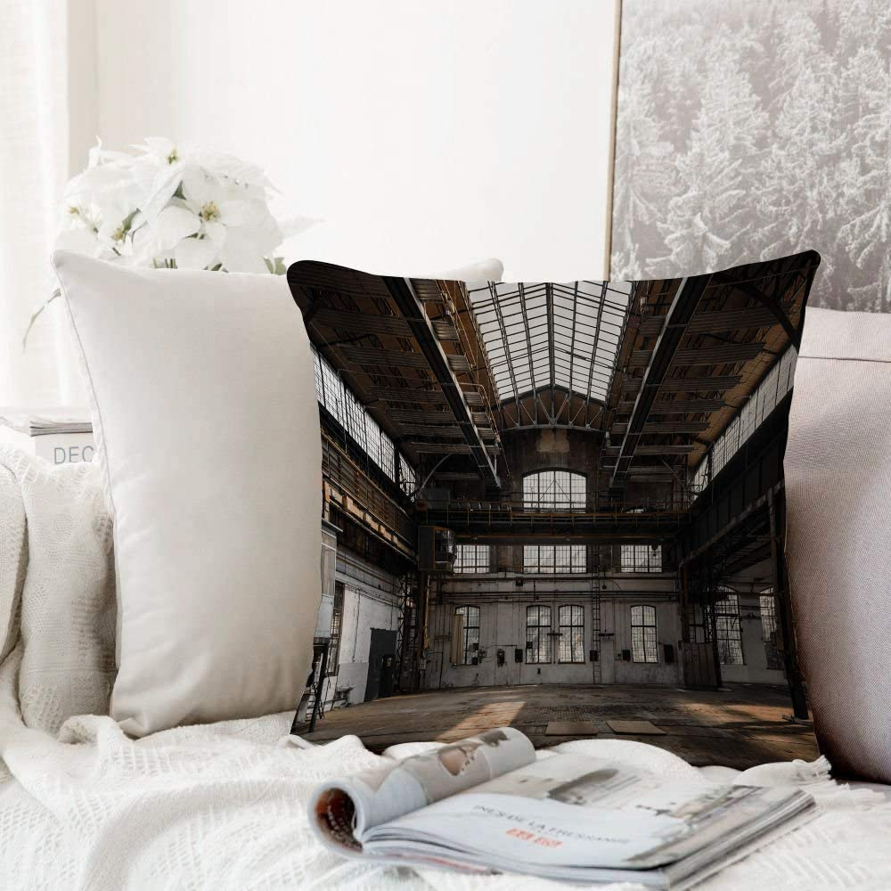 Decorative Pillowcase Throw Pillow Cushion Cover Industrial Inside A Hangar Old Architecture Construction Urban Timeworn Windows Charcoal Grey Sea Gre Throw Pillow Case Home Sofa Bedroom Decoration Amazon Co Uk Kitchen Home