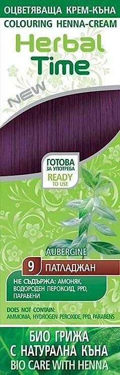 Henna Natural Colorante en Crema, Color Berenjena 9, Sin Amoniaco, Sin Sulfatos, Sin Parabenos