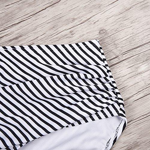 iBaste Linda Mujer Encaje de Hoja de Loto a Rayas Cintura Alta Traje de Baño partido