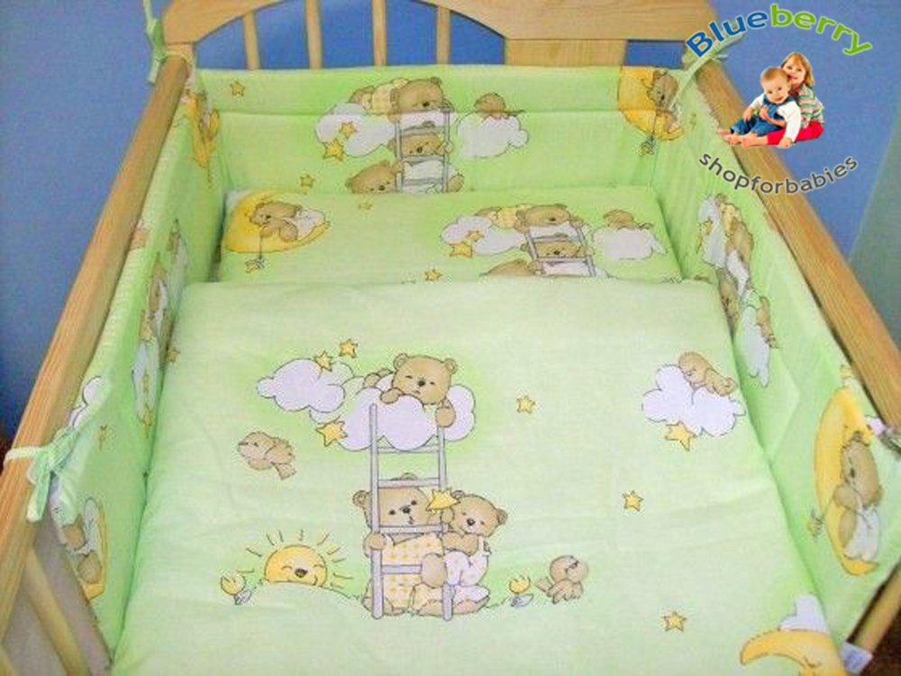 BlueberryShop 2 pcs BABY COT BED BUNDLE BEDDING SET DUVET+PILLOW COVERS 90 x 120 cm (35.5 x 47) ( 0-7Yrs ) ( 120 x 90 cm ) Green Bear on Ladder Blueberry Shop for Babies 50012005
