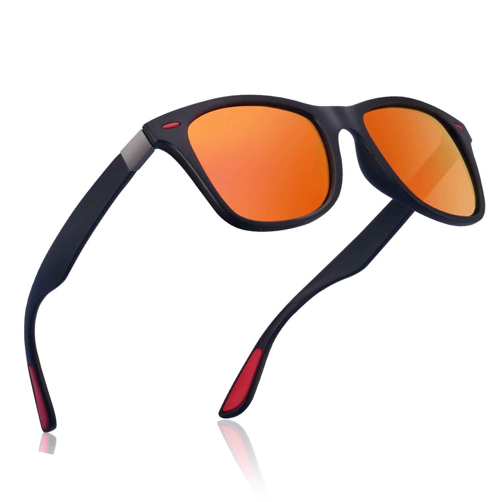 wearpro Wayfarer Sunglasses for Men Vintage Polarized Sun Glasses WP1050 (Orange/Red, 2.13) by wearpro
