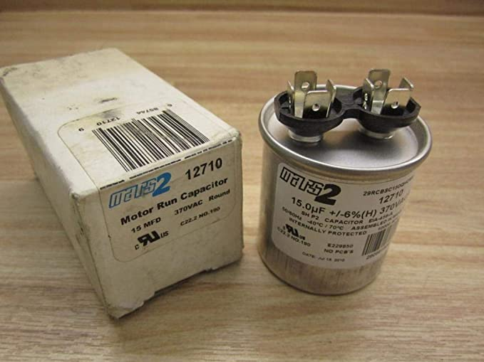 Motor Run Capacitor Round 15 uf MFD 370 Volt VAC 12710