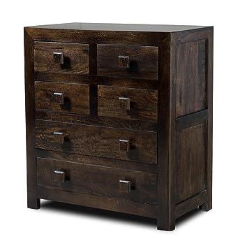 brand new 37b4f 75cc0 Dark Mango Wood Chest of Drawers - Dakota Wooden Bedroom ...