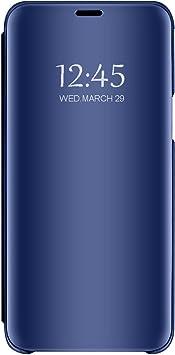 Funda para Samsung Galaxy J6 Plus Transparente Transparente Funda Transparente Ultrafina Cristal Ventana Espejo Folio Flip Cover para Samsung Galaxy J6 Plus (1, Samsung Galaxy J6 Plus): Amazon.es: Electrónica