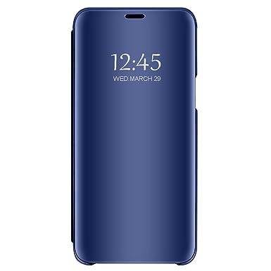 Funda Compatible con Samsung Galaxy A7 (2018) Carcasa Espejo Mirror Flip Caso Ultra Delgada Protector Shock Absorbing Caja del Teléfono Translucent ...