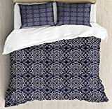 Navy Blue King Size Duvet Cover Set by Ambesonne, Japanese Inspired Swirls and Curlicues Composition Eastern Culture Influence, Decorative 3 Piece Bedding Set with 2 Pillow Shams, Navy Blue White