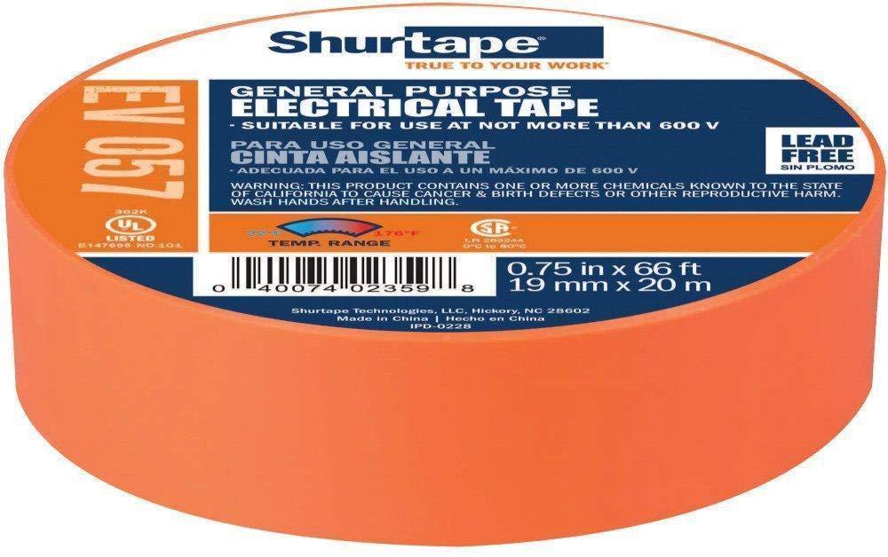 3/4'' - Shurtape EV 57 General Purpose, Flame Retardant, Vinyl Electrical Tape, Orange - 100 Rolls/Case (2 Cases)