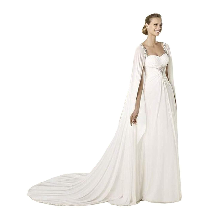 Kengtong Frauen 200CM Weiß Chiffon Hochzeits Umhang Brautcape Brautjacke Damen Brautstola Bolero 200cm)