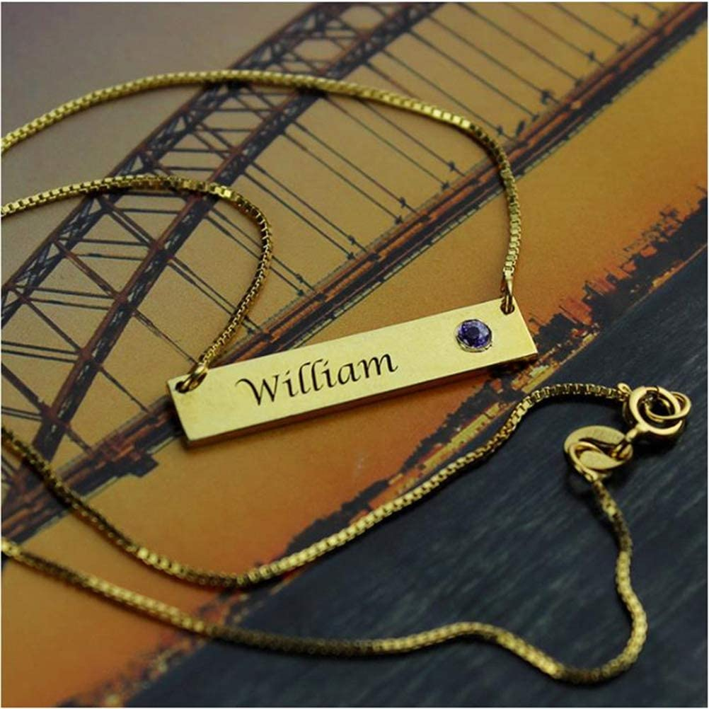 FACOCO Popular Belt Lucky Stone nameplate bar Necklace Personalized Fashion Custom Name Necklace Gold-Plated-Base 14