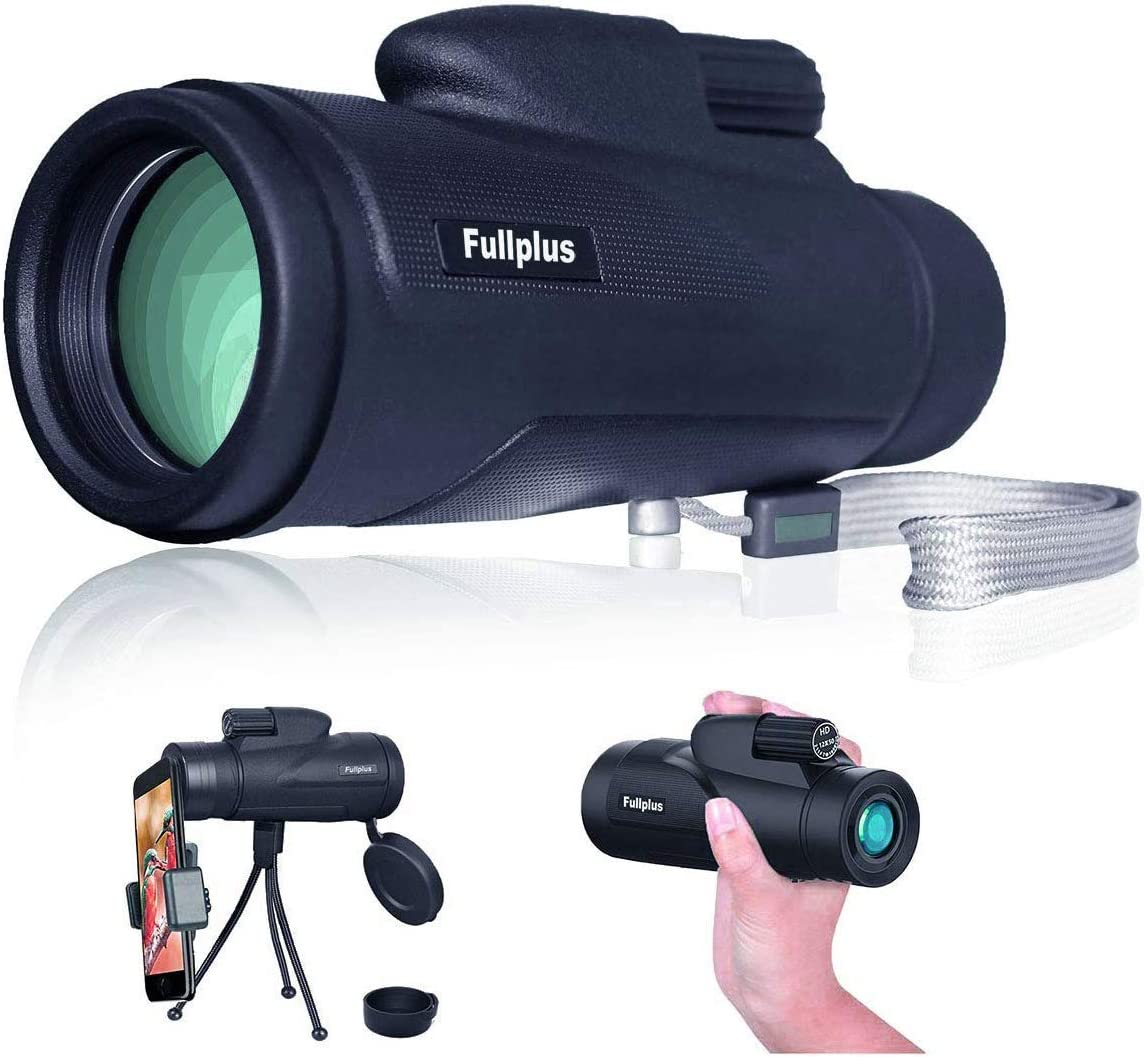 Fullplus Telescope, 10X50 High-Definition Fog-Proof and Shock-Proof Monocular Telescope with Smartphone Adapter and Tripod for Outdoor Bird Watching, Wildlife, Hunting,Concerts, Travel