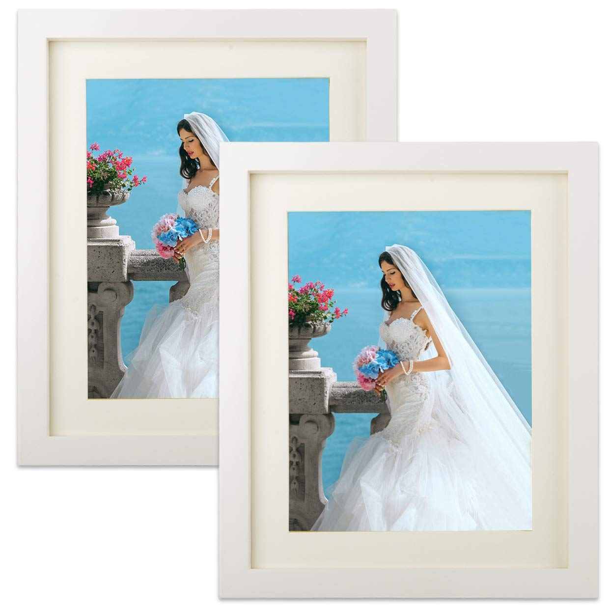 2 Pack Picture Frame 8x10 Display Photo 6x8 With Mat Wall Tabletop Frames Office Room Decor White