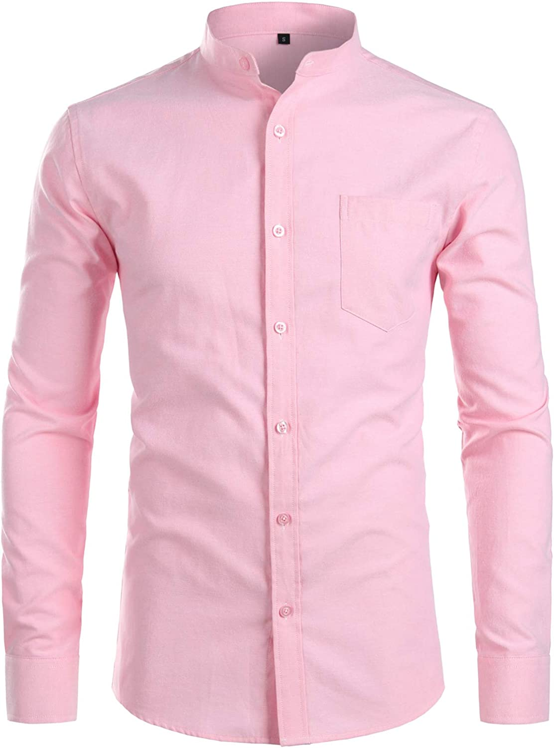ZEROYAA Men's Hipster Casual Slim Fit Long Sleeve Button Down Oxford Shirts with Chest Pocket