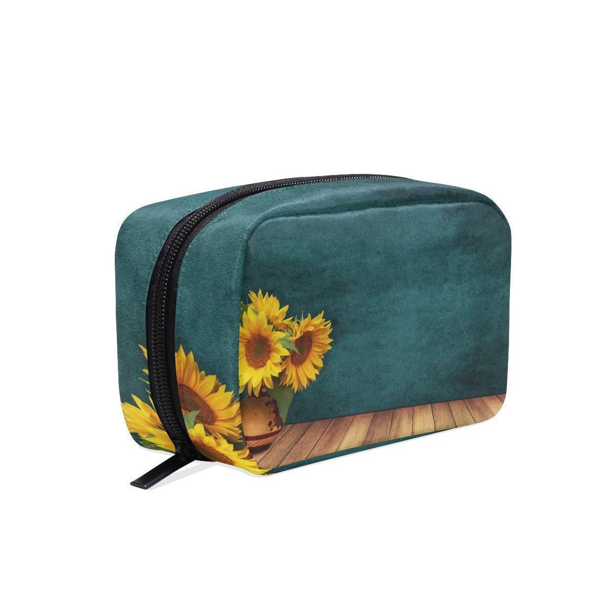 Amazon.com : Sunflowers Wood Vase Makeup Bag Organizer ... on zipper hat, zipper mask, zipper bracelet, zipper wall, zipper painting, zipper car, zipper doll,