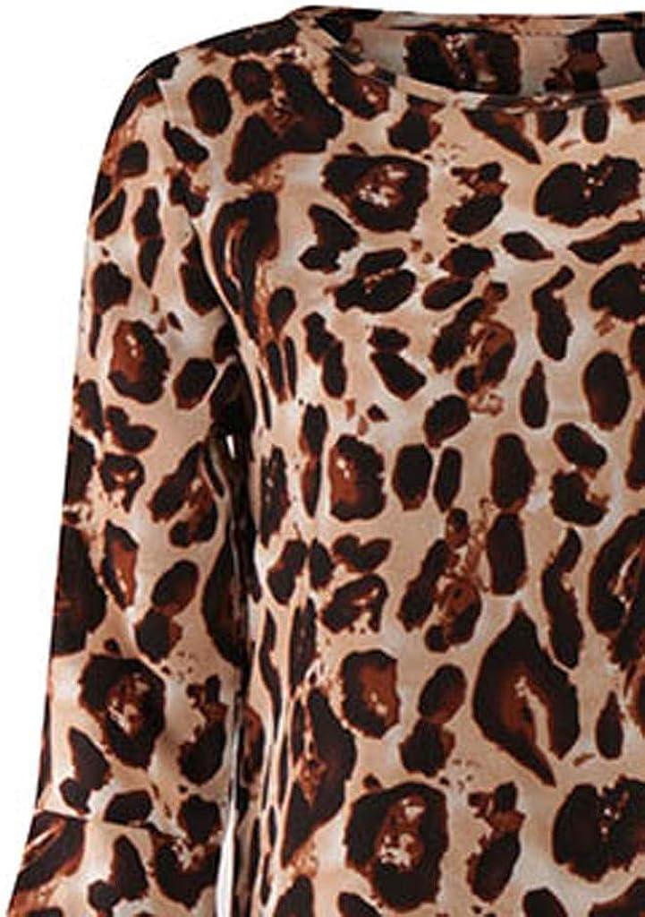 Zalanala Womens Long Sleeve Leopard Print Loose Flare Casual Shirt Blouse Top Shirt