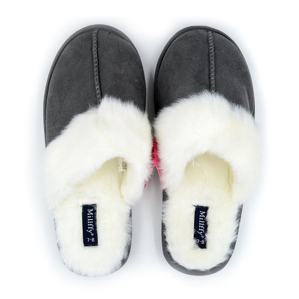 Millffy Nordic Style Faux Fur Trim Rabbit Hair Women's Suede Shoe Slippers Memory Foam Slippers Indoor eva Slipper (US 7/8, Gray)