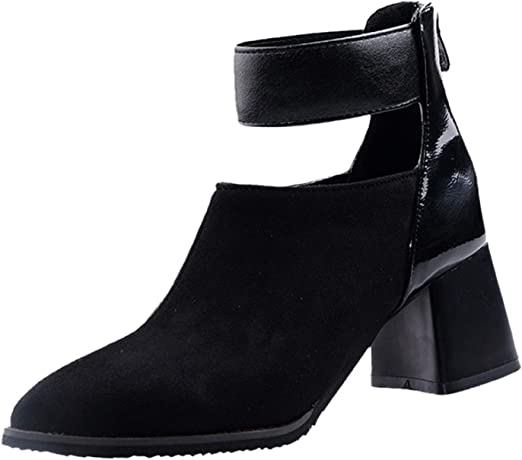 Women Zip Up Ankle Boots,Tsmile Chic Strap Low Heel Pointed Toe Suede Leather Waterproof Casual Work Light Booties