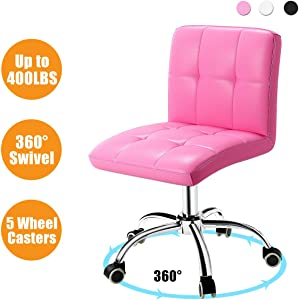 360° Office Desk Chair,PU Adjustable Rolling Task Chair with Backrest for Barber,Office,Home, Computer,360° Swivel,Armless,Pink