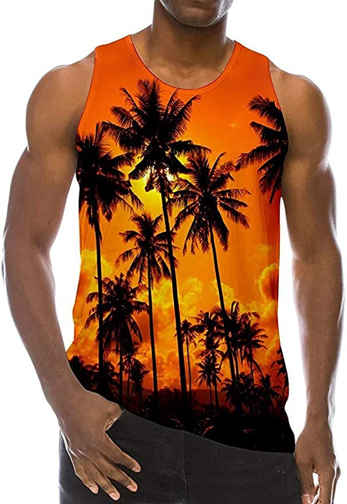 Camisetas de Tirantes para Hombre Tank Top Camisa Hawaiana Hombre Camisetas sin Mangas Divertido impresión gráfica 3D patrón Chaleco Realista fobric Gimnasio Camisetas para Hombres: Amazon.es: Ropa y accesorios