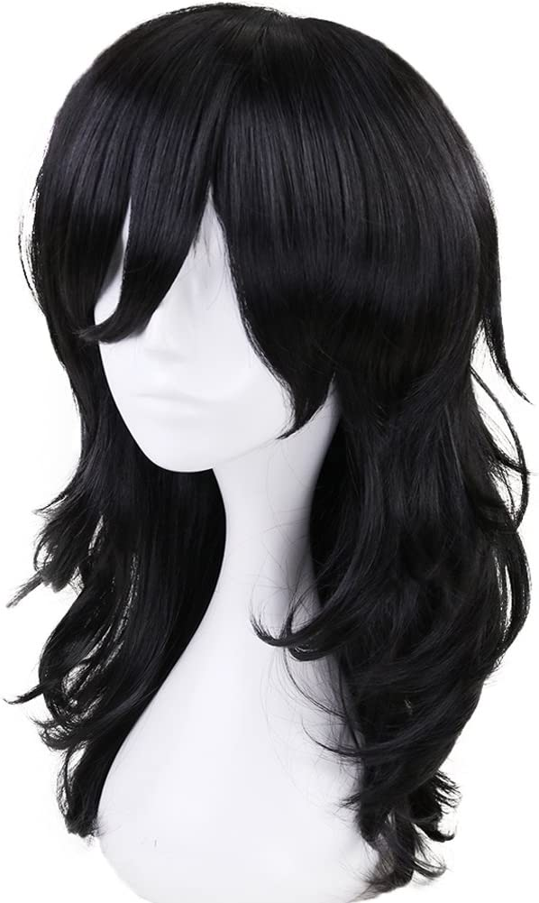 Short Wavy Layered Black Cosplay Wig Synthetic Hair Full Wigs for Costume Anogol Hair Cap