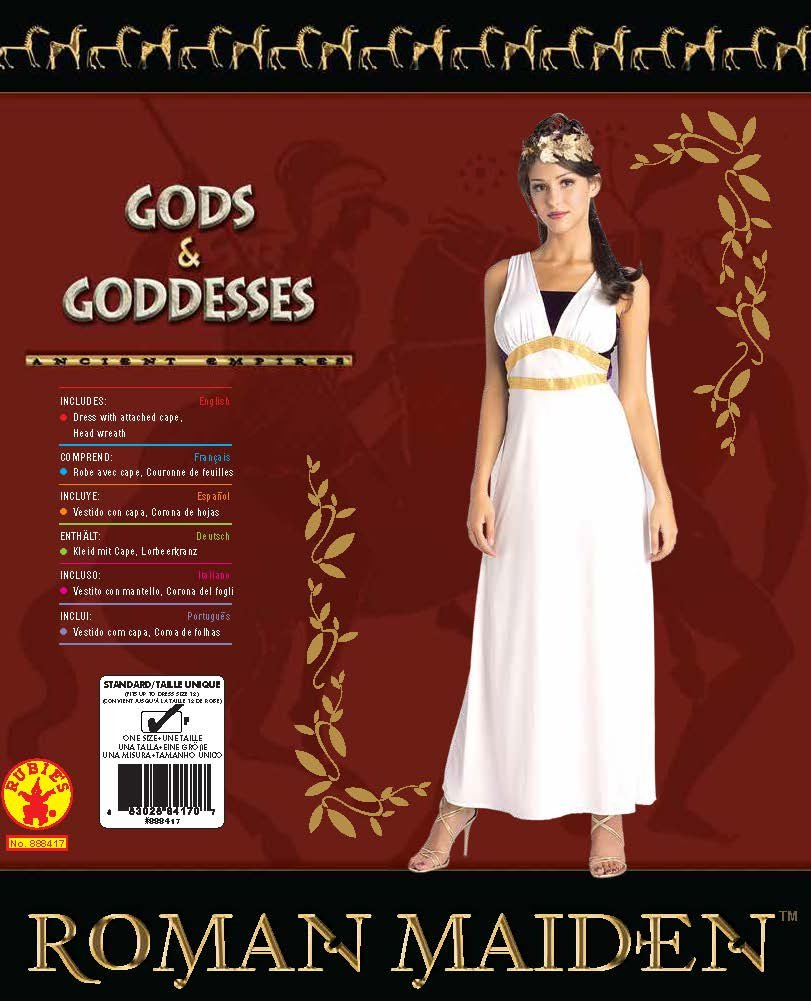 Amazon.com: Rubies Womens Roman Maiden Costume, As Shown, Standard: Clothing